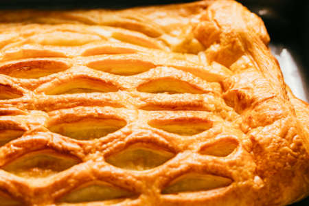 strudel: fresh strudel with apples and  raisins close-up