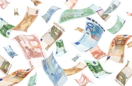 banconote euro: Euro in calo su sfondo bianco Archivio Fotografico