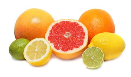 Citrus fruits  lemon, lime, orange and grapefruit  isolated on white background with shadows Stock Photo