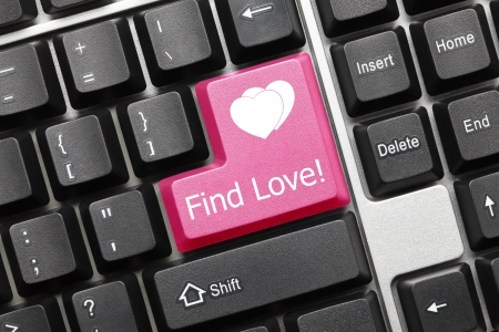 Close up view on conceptual keyboard - Find Love  pink key  Stock Photo - 14698913