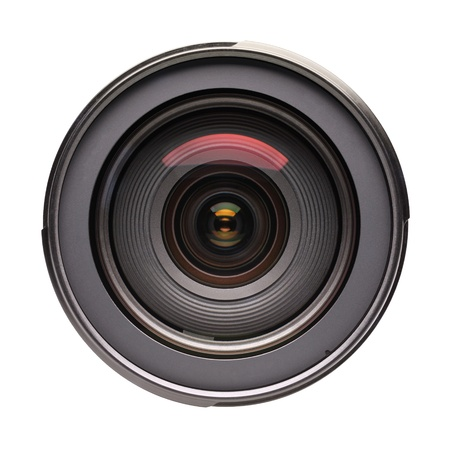 Front view of photo lens isolated on white background Stock Photo