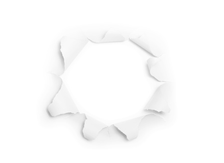 paper rip: The sheet of torn paper with round hole isolated on white background