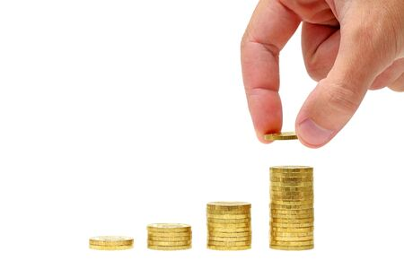 Successful investment  Conceptual business picture  Columns of gold coins and businessman Stock Photo