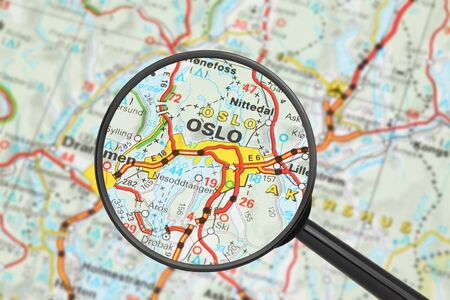 Tourist conceptual image: Destination - Oslo (with magnifying glass) Stock Photo - 14699008