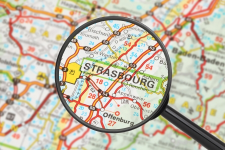 Tourist conceptual image: Destination - Strasbourg (with magnifying glass) Stock Photo - 14699010