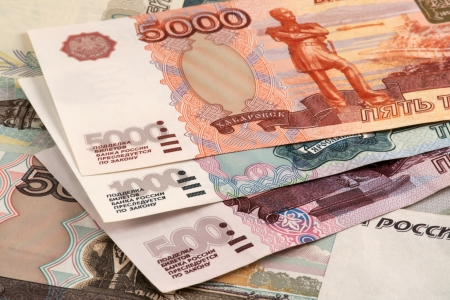 roubles: Russian roubles. 500, 1000 and 5000 roubles banknotes