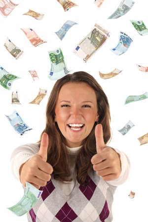 Successful investment. Conceptual business image with funny young female Stock Photo