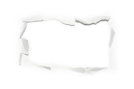 paper hole: The sheet of torn paper (isolated) Stock Photo