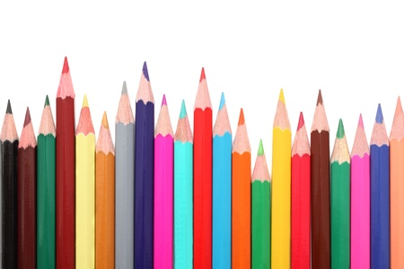 Colorful pencils isolated on white background with shadows