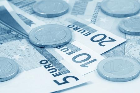 European money  blue toned  Stock Photo