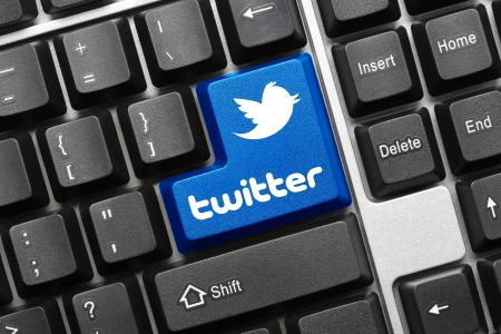 Close up view on conceptual keyboard - Twitter (blue key with logotype) Stock Photo - 14802778