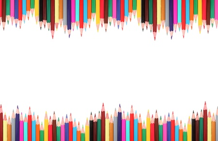 coloured pencil: Frame made from colored pencils isolated on white background with shadows