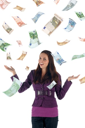 euro banknotes: Money rain (euro banknotes) Stock Photo