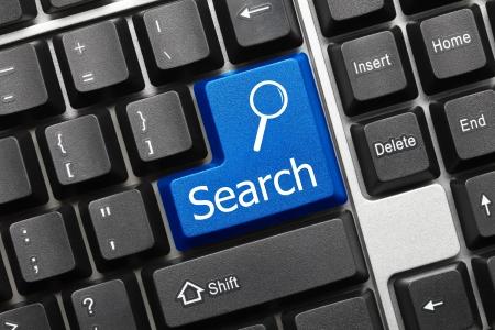 toetsenbord: Close-up op conceptuele toetsenbord - Zoeken (blauwe toets)