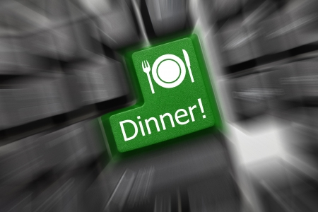 Close up view on conceptual keyboard - Dinner (green key). Zoom effect Stock Photo - 14855841