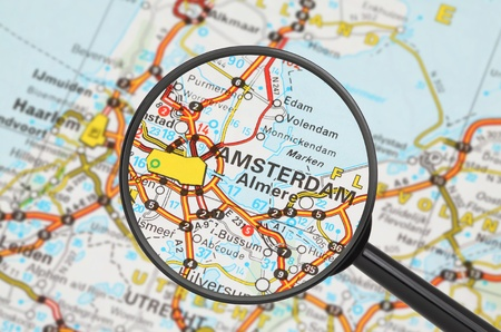 Tourist conceptual image: Destination - Amsterdam (with magnifying glass) Stock Photo - 14855838