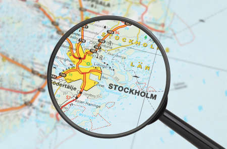 Tourist conceptual image: Destination - Stockholm (with magnifying glass) Stock Photo - 14855832
