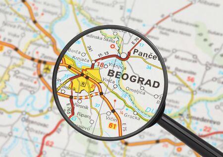 Tourist conceptual image: Destination - Belgrade (with magnifying glass) Stock Photo - 14855830