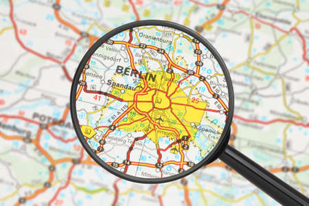 Tourist conceptual image: Destination - Berlin (with magnifying glass) Stock Photo - 14855835