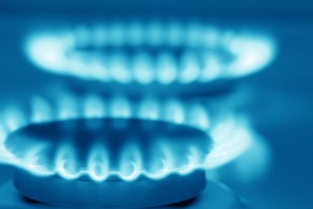 Aardgas kachel (blauwe gestemde) Stockfoto