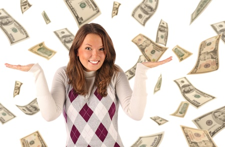 Confused girl on dollars background. Conceptual business image photo