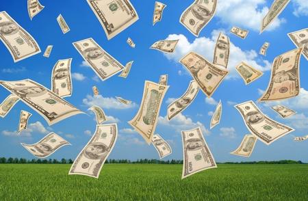 Falling dollars (field background)