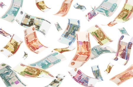 Falling Roubles  isolated on white background   Conceptual business image