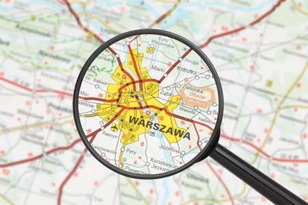 Tourist conceptual image: Destination - Warsaw (with magnifying glass) Stock Photo - 16427931
