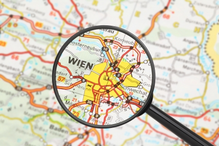 Tourist conceptual image: Destination - Vienna (with magnifying glass) Stock Photo - 16427932