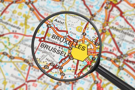 Tourist conceptual image: Destination - Brussels (with magnifying glass) Stock Photo - 16427930