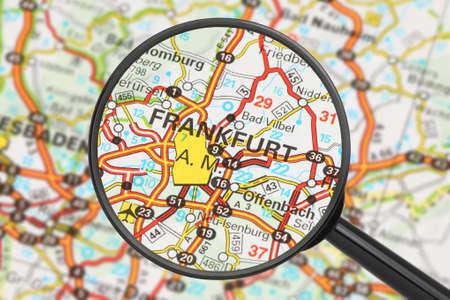 Tourist conceptual image  Destination - Frankfurt  with magnifying glass  Stock Photo - 16427962