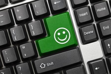 Close up view on conceptual keyboard - Good mood  green key