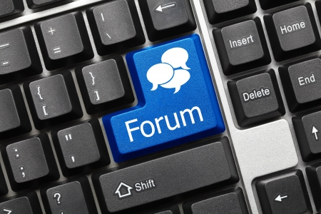 Close up view on conceptual keyboard - Forum  blue key Stock Photo - 16479835