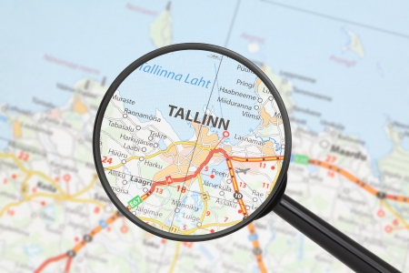 Tourist conceptual image  Destination - Tallinn  with magnifying glass Stock Photo - 16494235