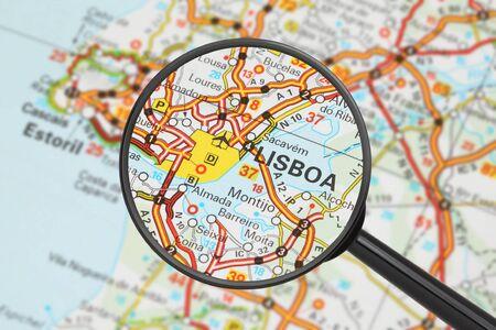 lisbon: Tourist conceptual image  Destination - Lisbon  with magnifying glass