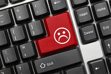 Close up view on conceptual keyboard - Bad mood  red key Stock Photo - 17018940