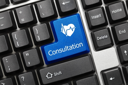 Close up view on conceptual keyboard - Consultation  blue key with heart symbol Stock Photo - 17018942
