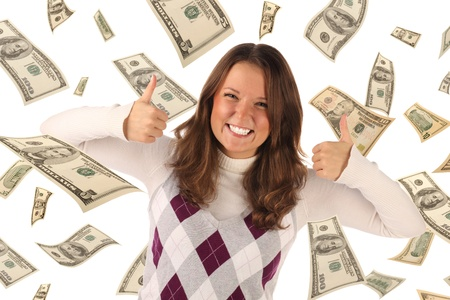 Successful girl on falling dollars background. Conceptual business image photo