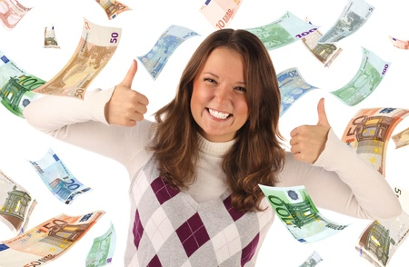 Successful girl on falling euros background. Conceptual business image