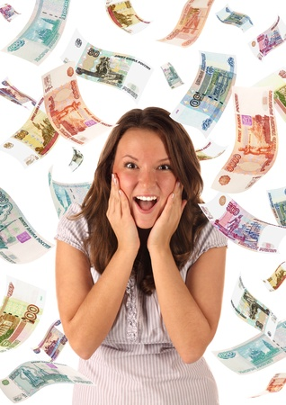 Surprised girl on falling roubles background. Conceptual image