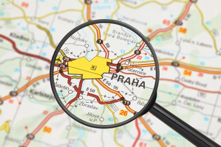 Tourist conceptual image: Destination - Prague (with magnifying glass) Stock Photo - 17202667