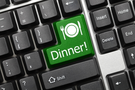 Close up view on conceptual keyboard - Dinner  green key  Stock Photo - 17363973