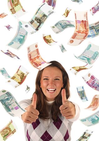 roubles: Successful investment  falling roubles banknotes   Conceptual business image  Stock Photo