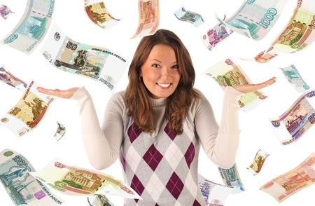 roubles: Confused girl on falling roubles background  Conceptual business image