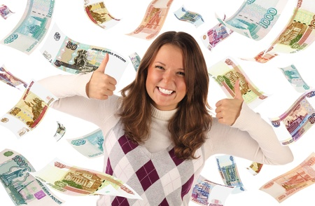 roubles: Successful girl on falling roubles background  Conceptual business image Stock Photo