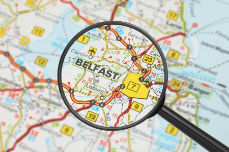 Tourist conceptual image  Destination - Belfast  with magnifying glass  Stock Photo - 17474026