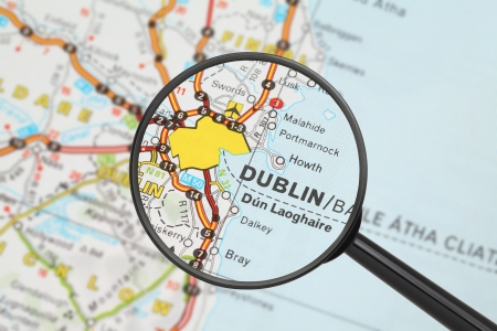 Tourist conceptual image  Destination - Dublin  with magnifying glass  photo