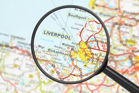 Tourist conceptual image  Destination - Liverpool  with magnifying glass  photo