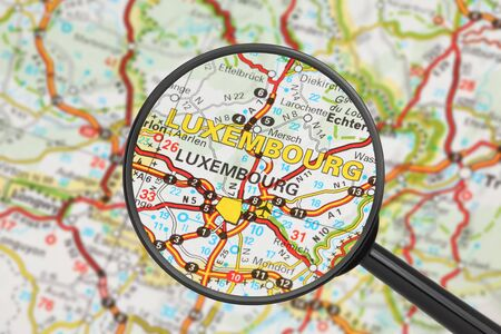 Tourist conceptual image  Destination - Luxembourg  with magnifying glass