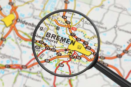 Tourist conceptual image  Destination - Bremen  with magnifying glass  Stock Photo